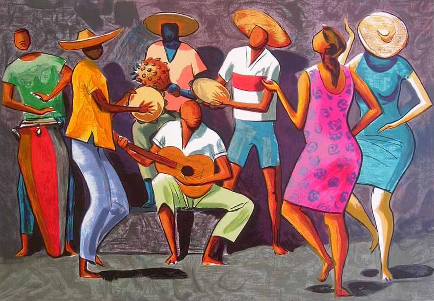 Desenho ilustra roda de samba. Foto: Reprodução de Internet